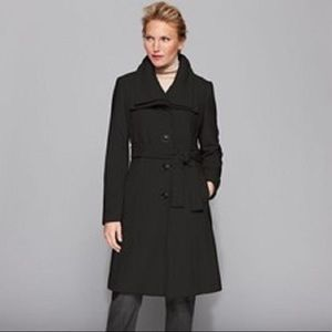 Calvin Klein Beige Fitted Wool Coat